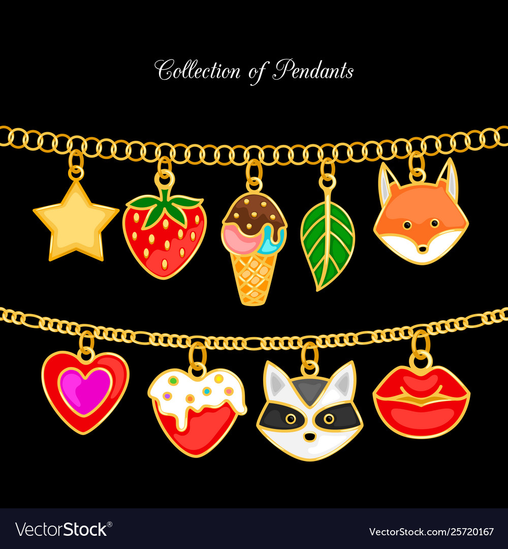 Collection pendants animal face and food