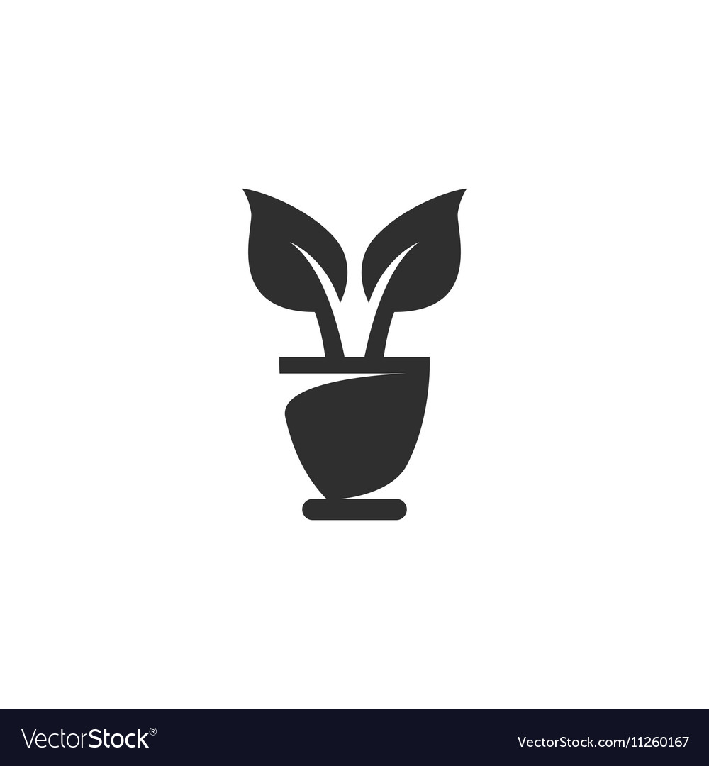 Flowerpot Icon logo on white background