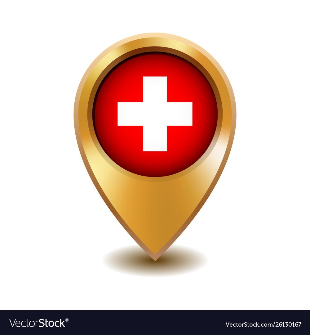 Golden metal map pointer with switzerland flag