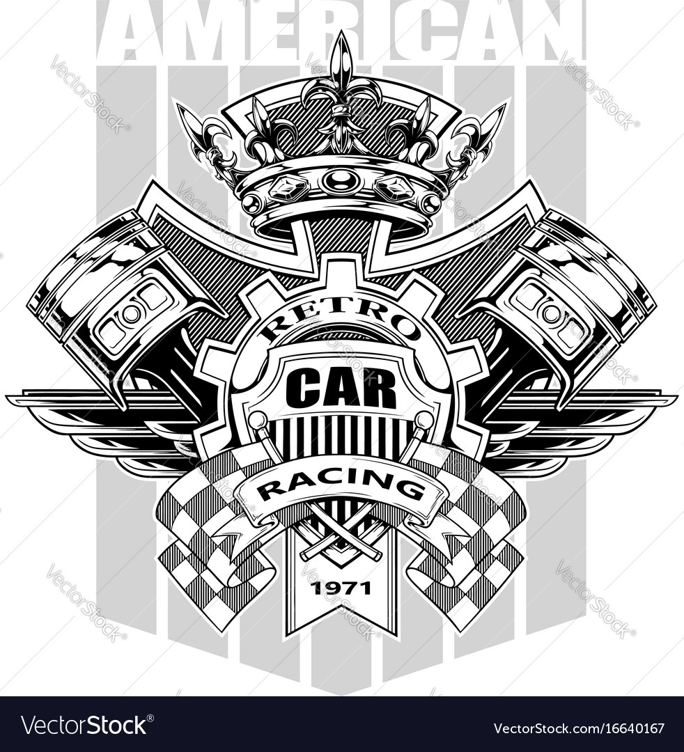 Graphic american coat of arms with gear and crown