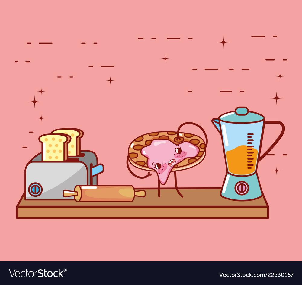 Kitchen Items Cartoon Kawaii Cartoon Royalty Free Vector