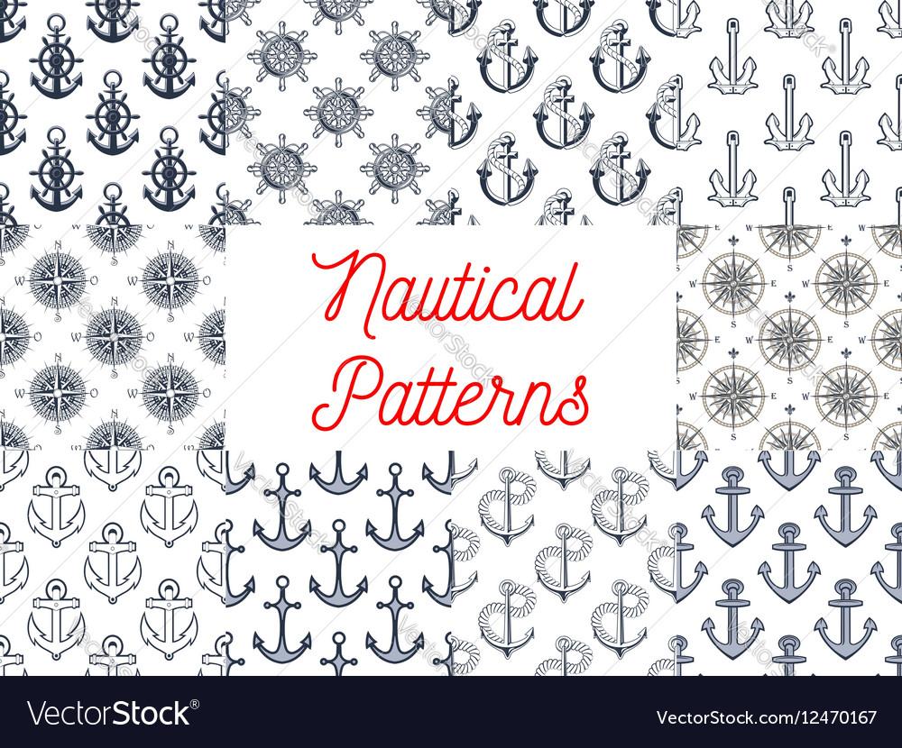 Nautical anchor helm compass seamless patterns