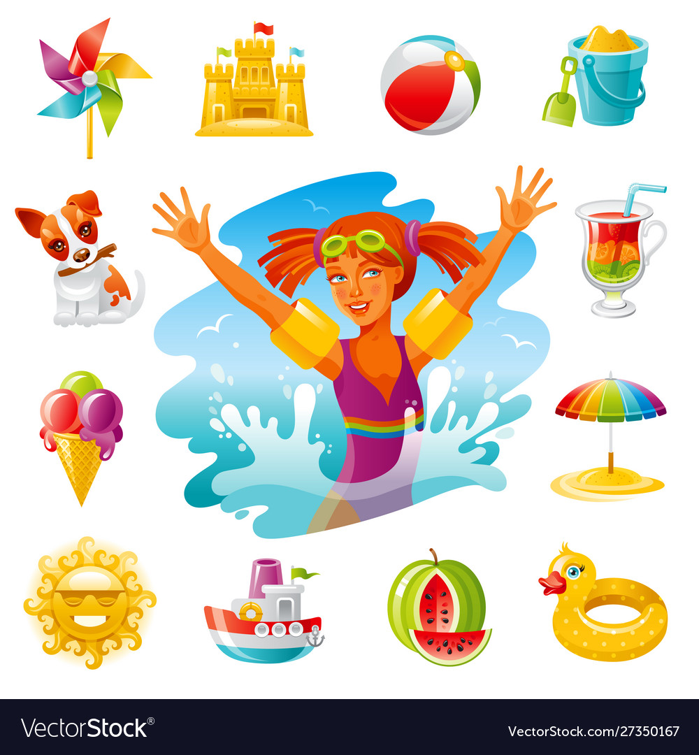 Sea travel icons happy bagirl swimming in the