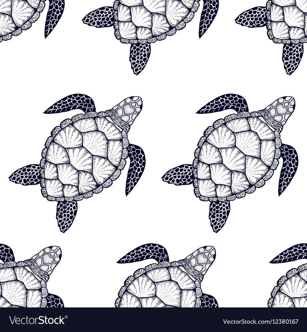 seamless pattern with sea turtle in line art style