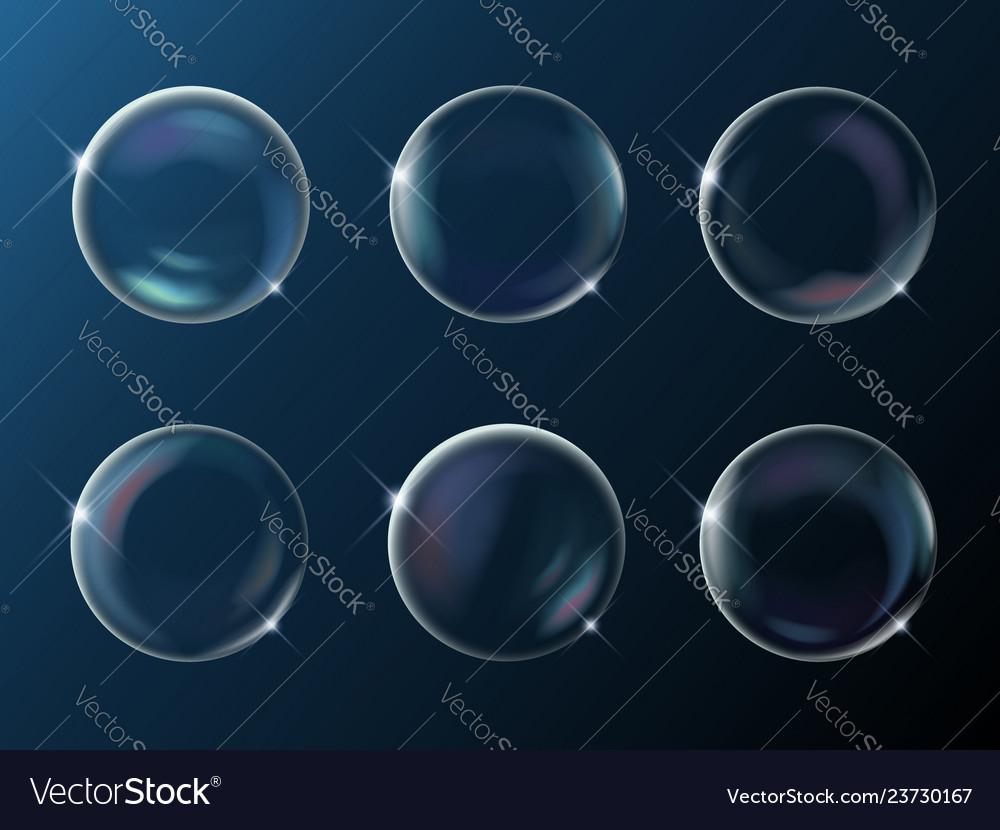 Set realistic bright sparkling soap bubbles