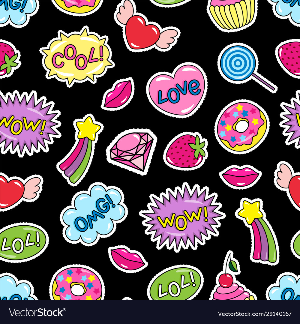 Sticker pack or patches seamless pattern