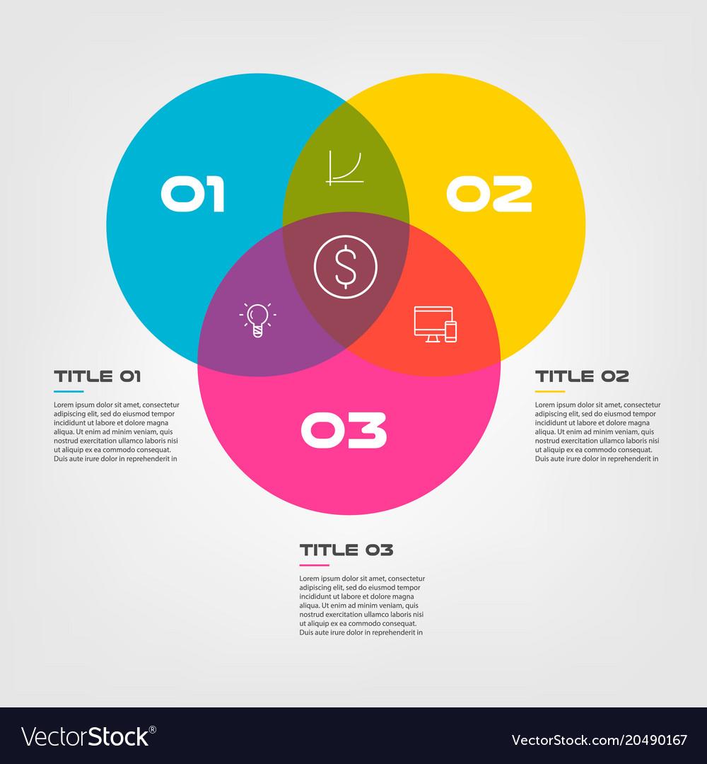Venn diagram infographics for three circle design vector image ccuart Choice Image