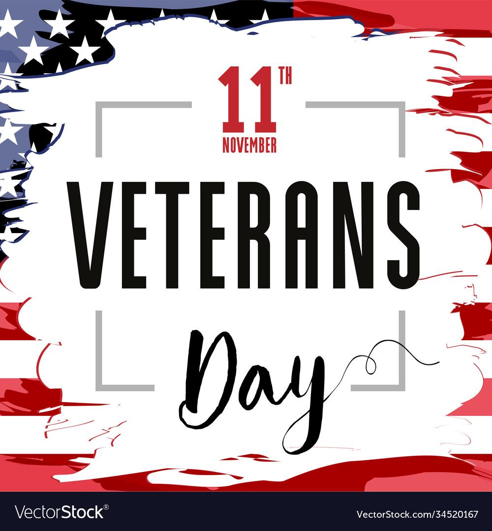 Veterans day card usa brush paint banner