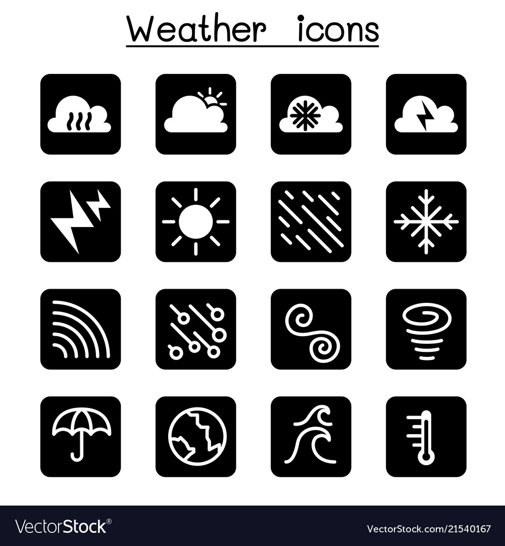 Weather meteorology climate icon set