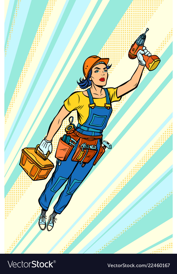 Woman with drill repair and construction