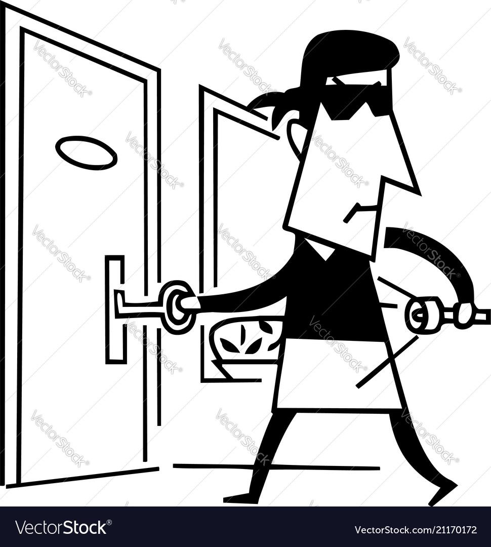 Black and white cartoon of thief