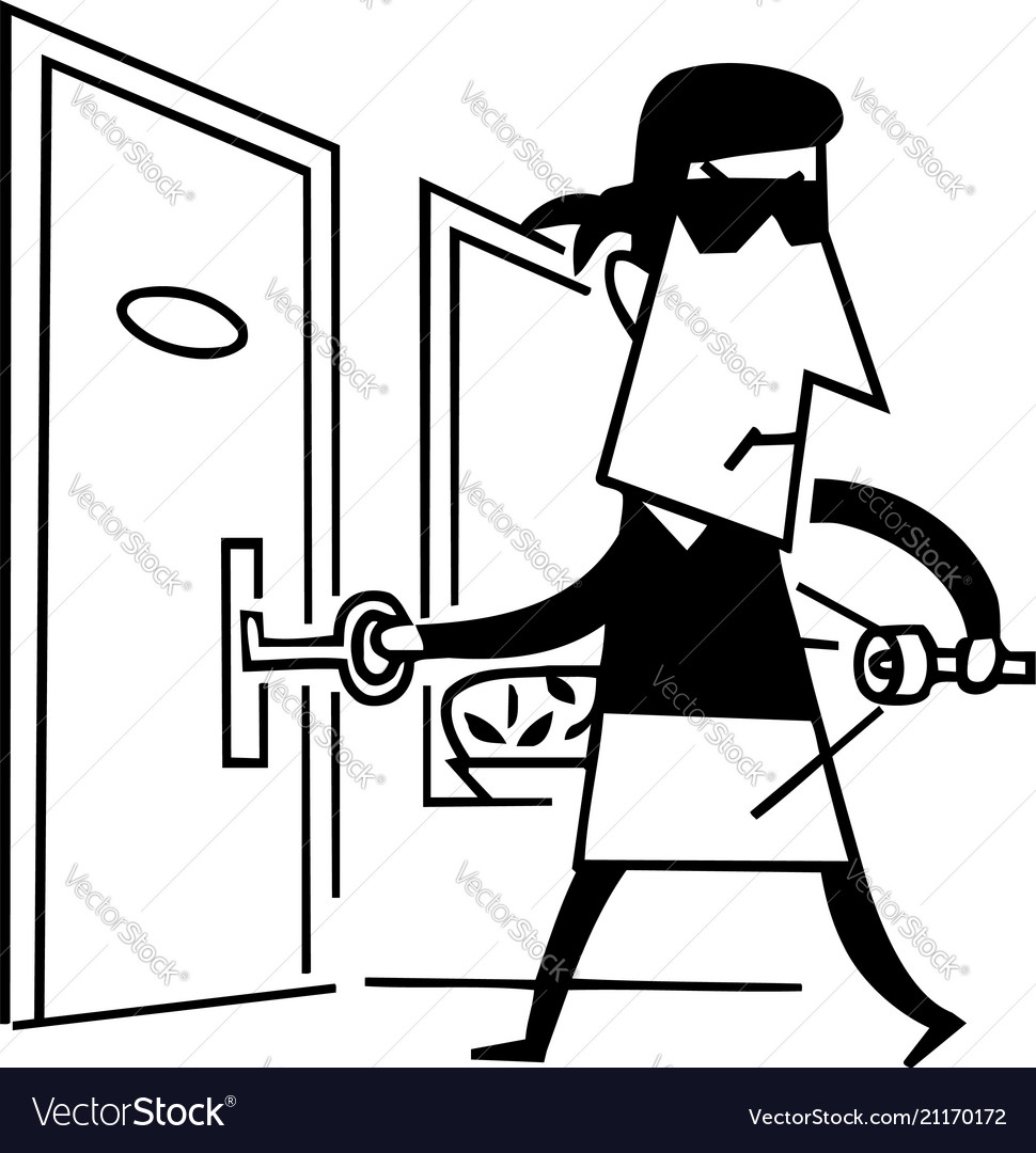 Black and white cartoon thief