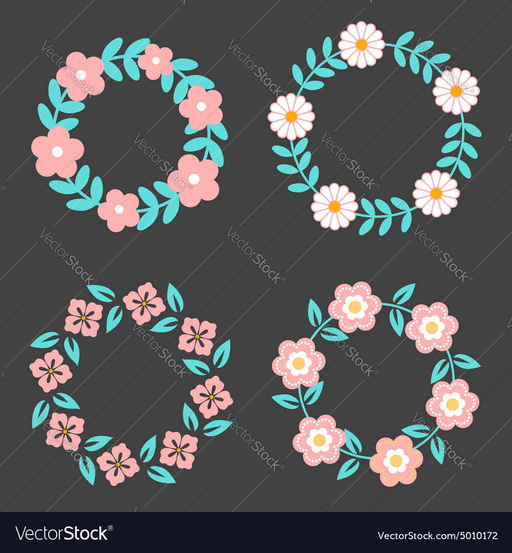 Floral Frame Collection Cute retro flowers