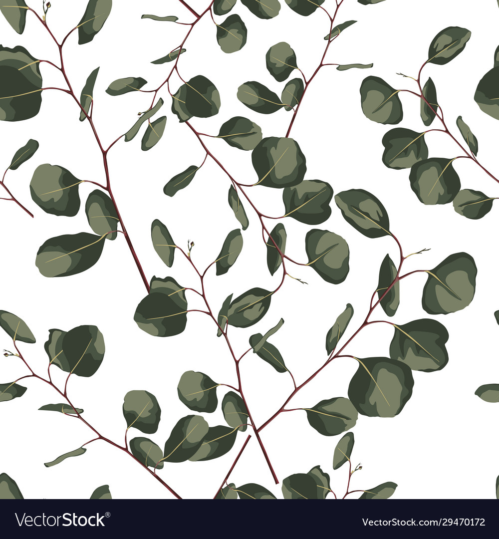 Floral seamless pattern with eucalyptus