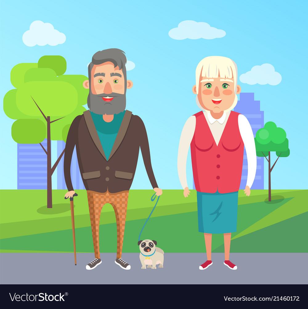 Grandfather grandmother walk dog city park