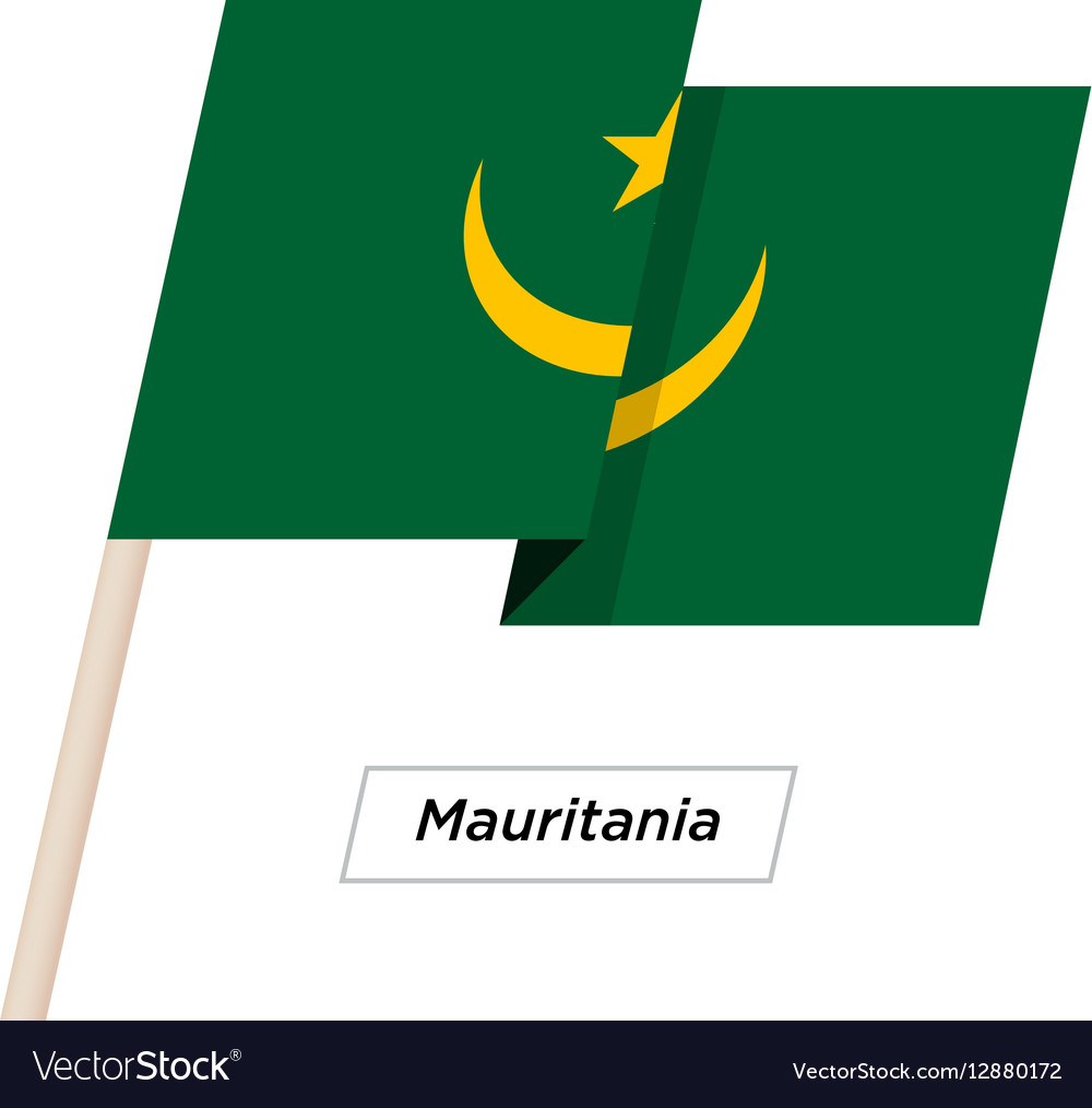 Mauritania Ribbon Waving Flag Isolated on White