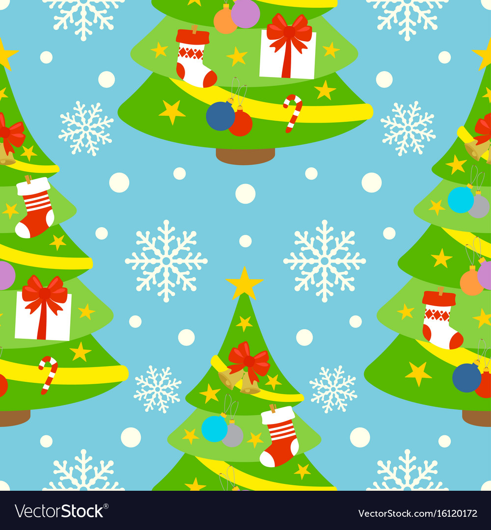 New year seamless background card with fir-tree