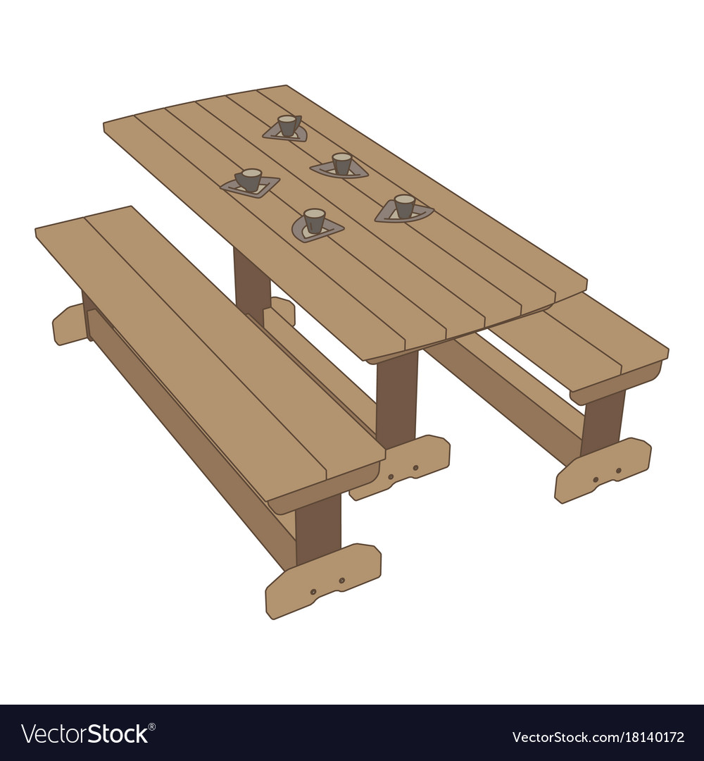 Picnic table icon park background outdoor wood