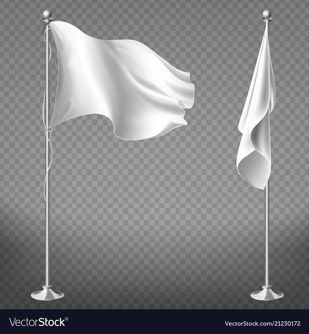 Set of blank white flags on steel poles