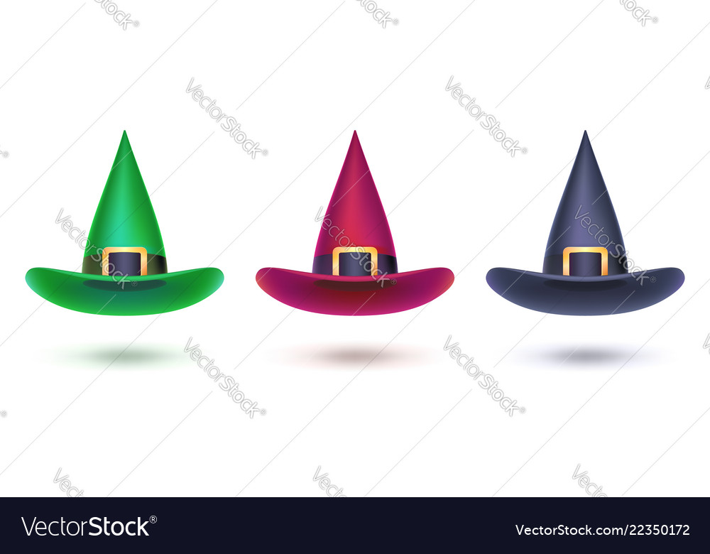 Set of witch hat colored design elements for
