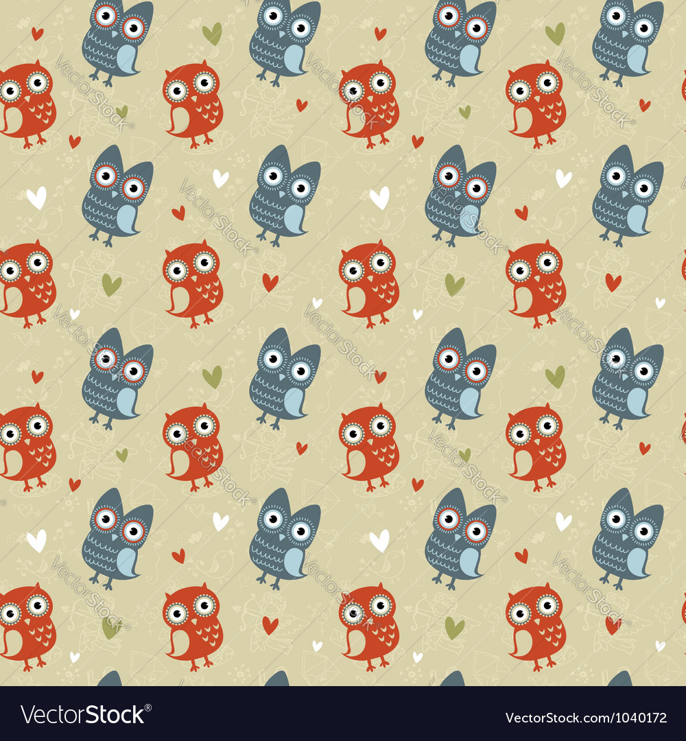 Valentine love seamless texture with cute owls