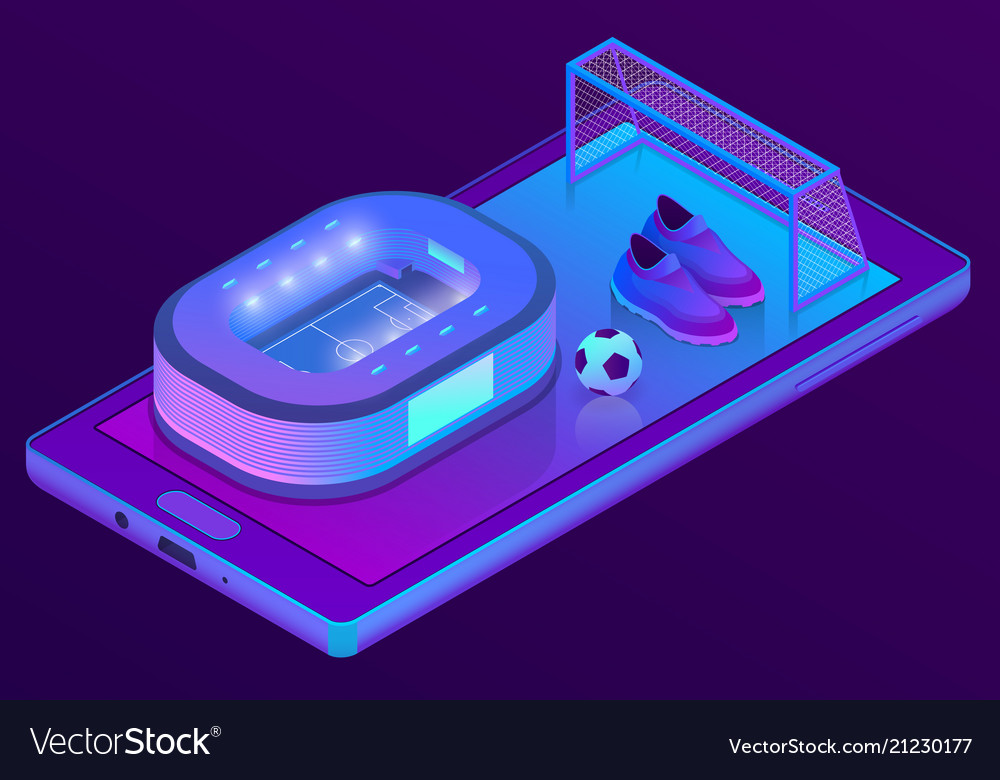 3d isometric smartphone with football