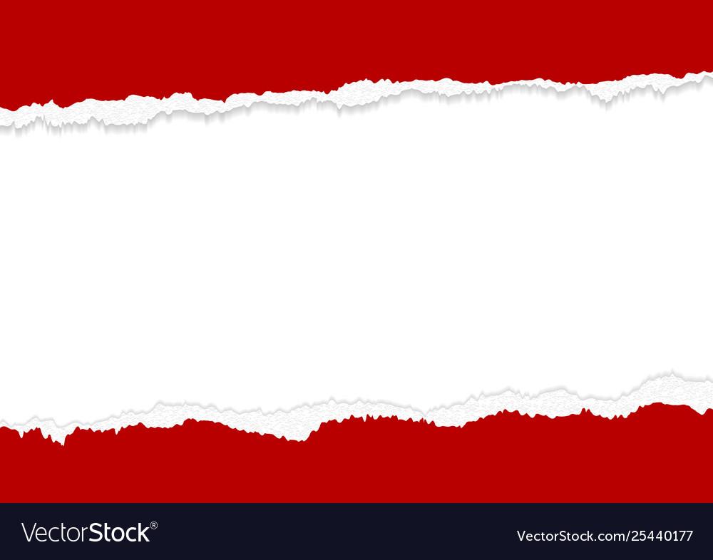 Banner design red torn paper edges