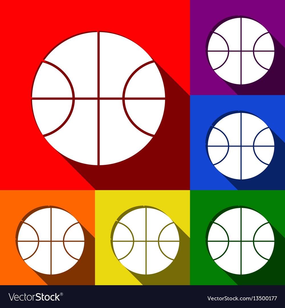 Basketball ball sign set of