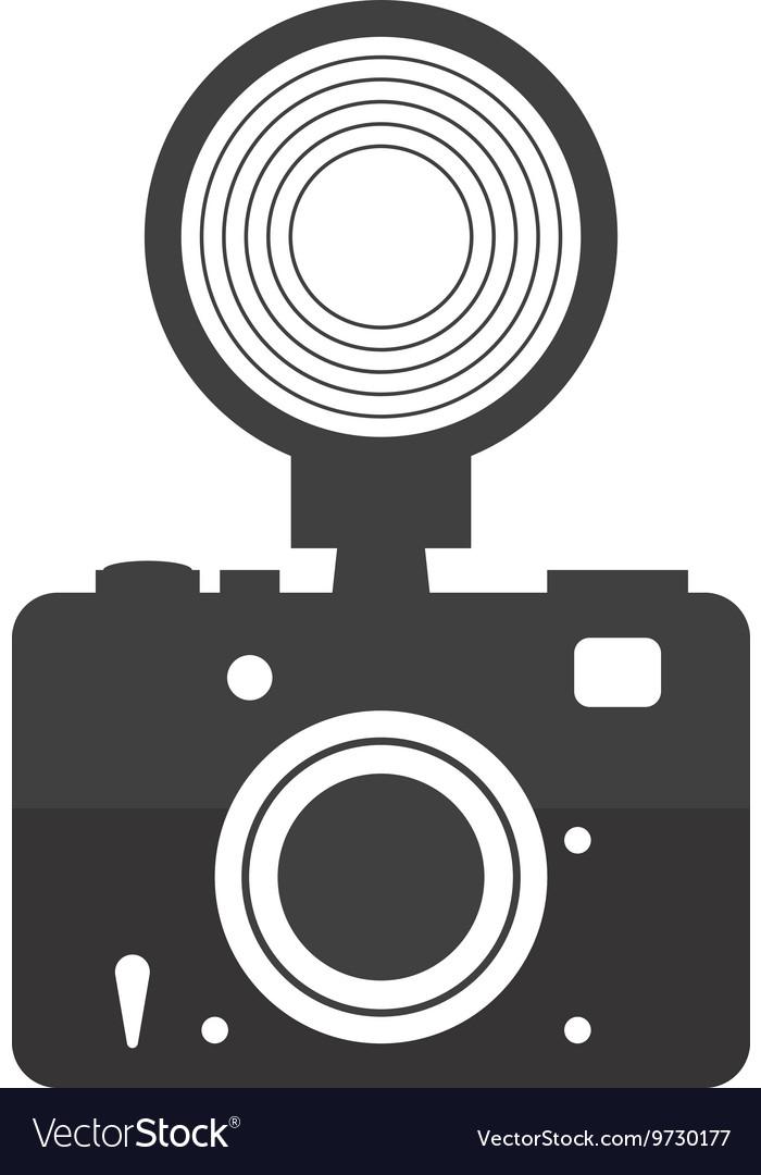 Camera with flash icon Gadget design