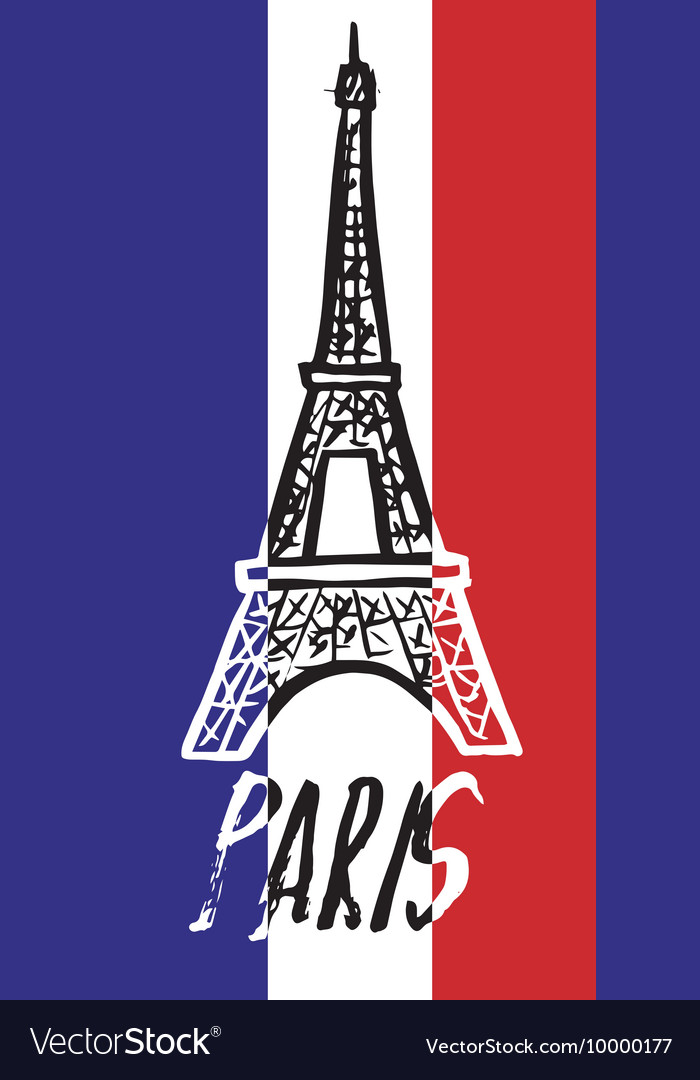 Hand drawn concept logo with Eiffel Tower with