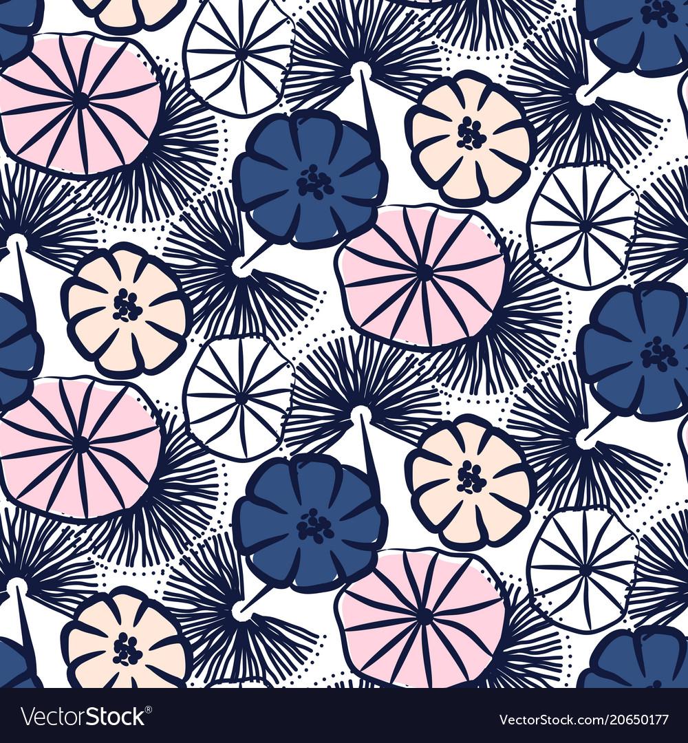 Handdrawn flower seamless pattern