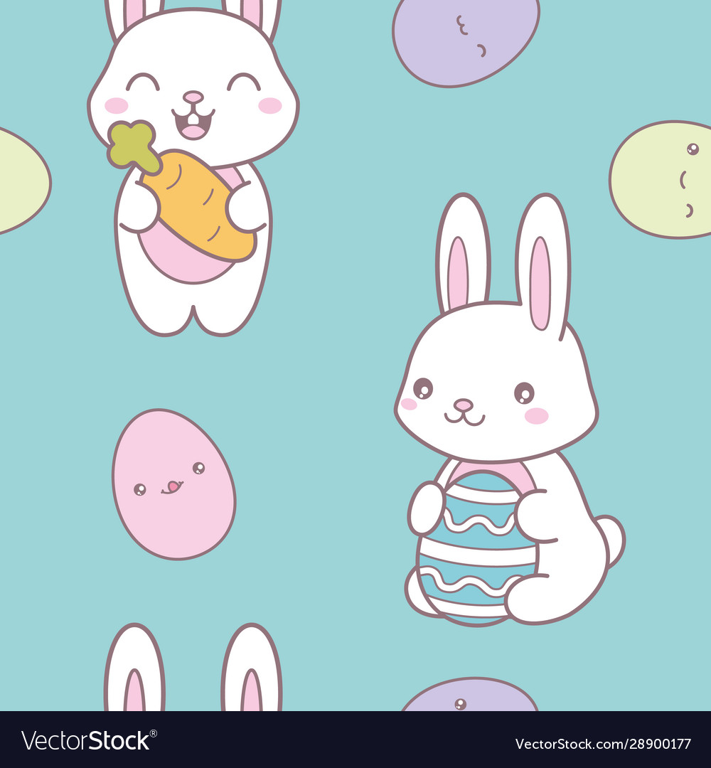 Kawaii easter seamless pattern with a cute bunny