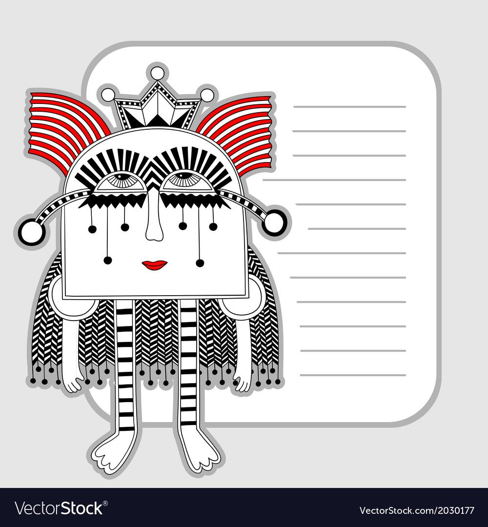Modern cute ornate doodle fantasy monster