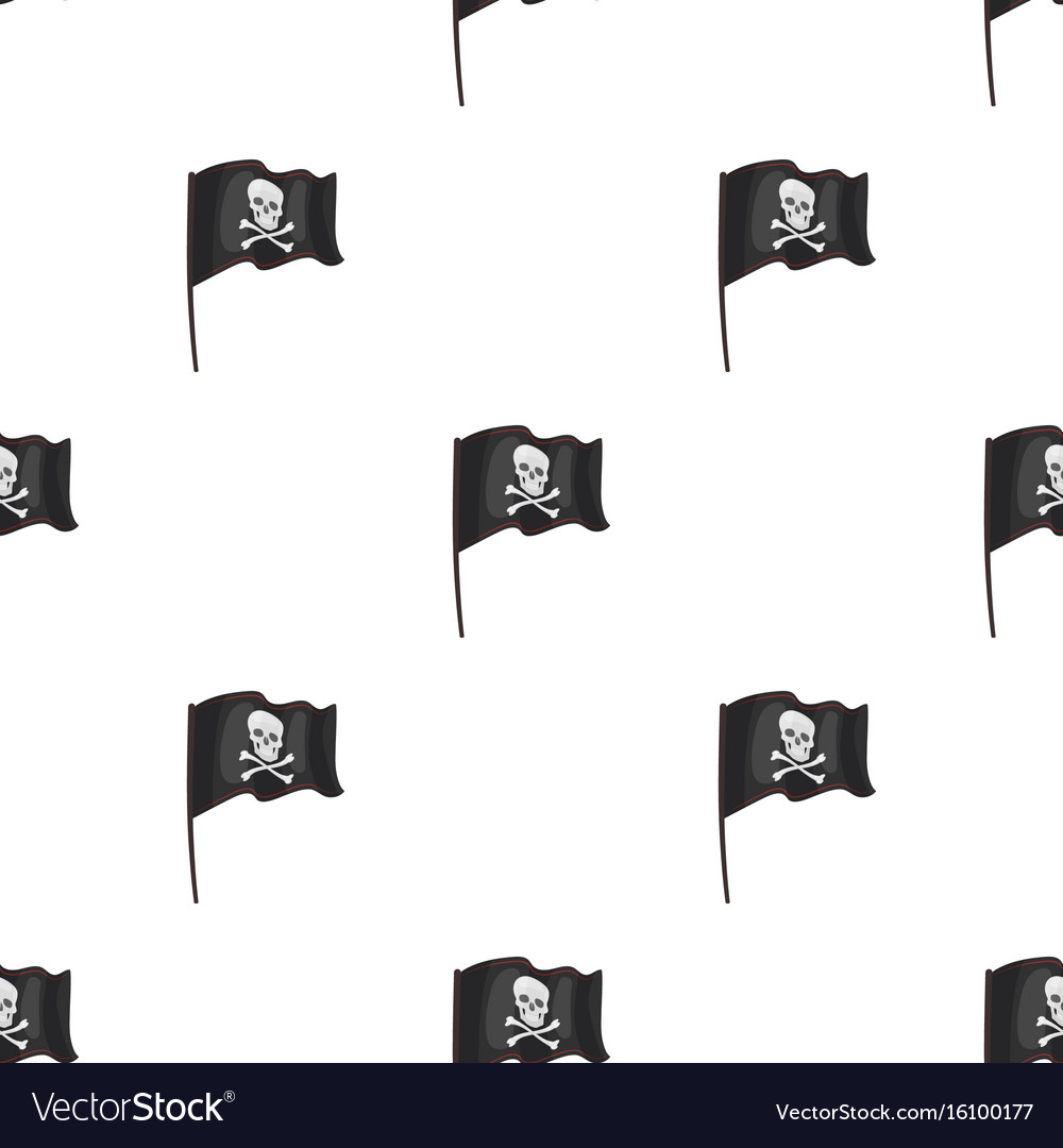 Pirate flag icon in cartoon style isolated on