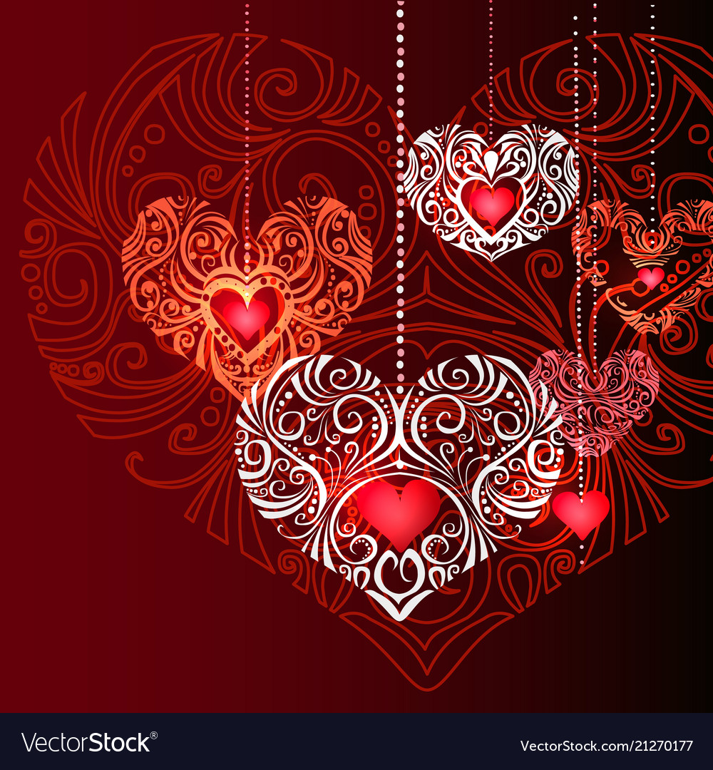 Red decorative jewelry hearts background