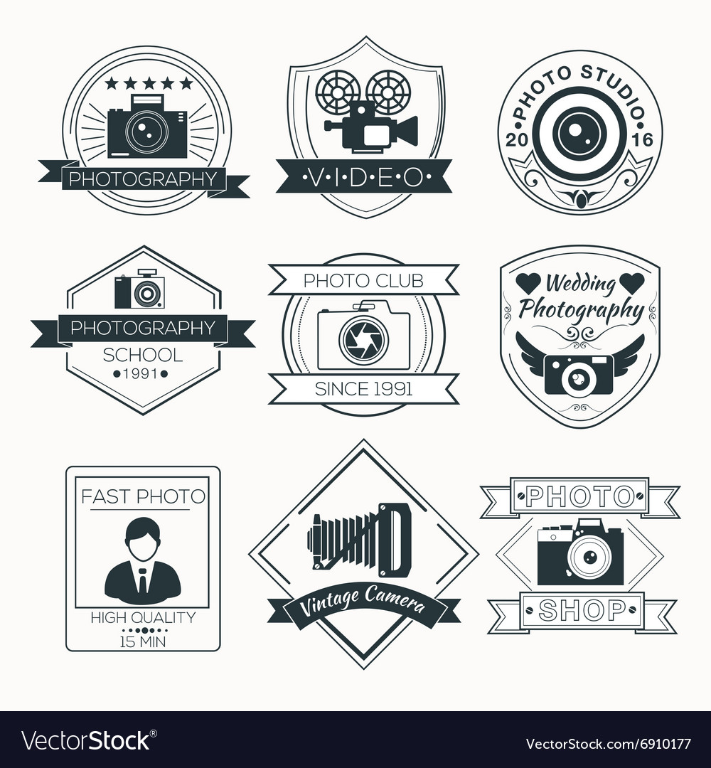 Set of Photography Badges Labels and Logos