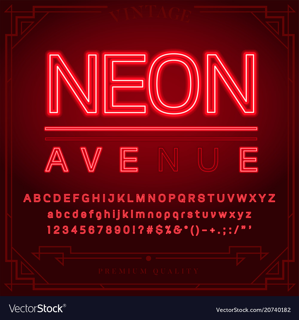Bright neon alphabet letters numbers and symbols