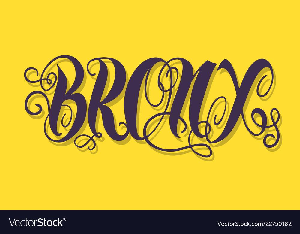 Bronx new york usa label sign logo hand dra