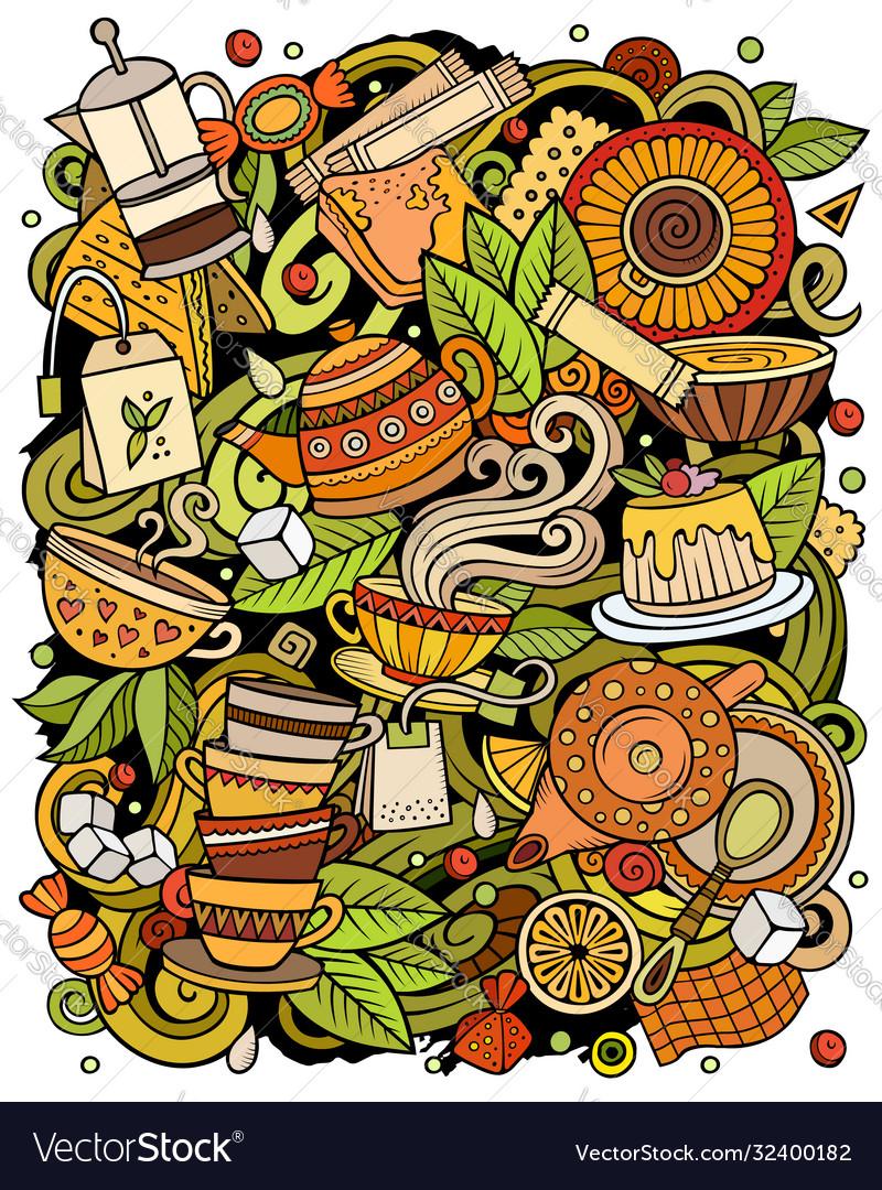Cartoon doodles tea time