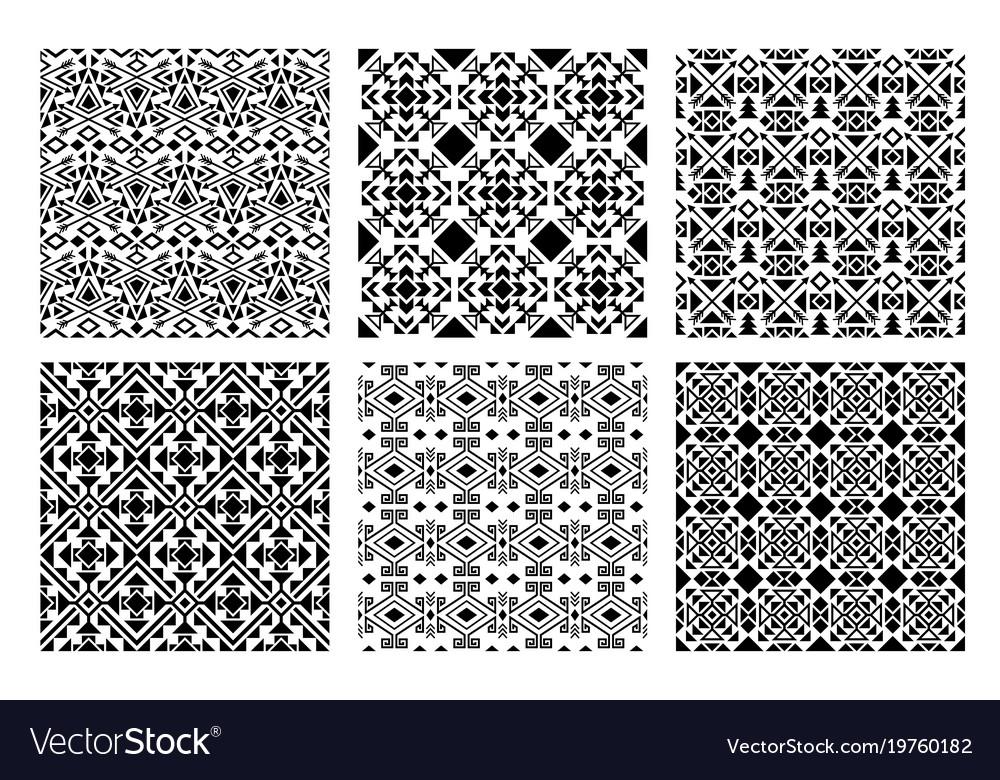 Ethnic monochrome patterns set