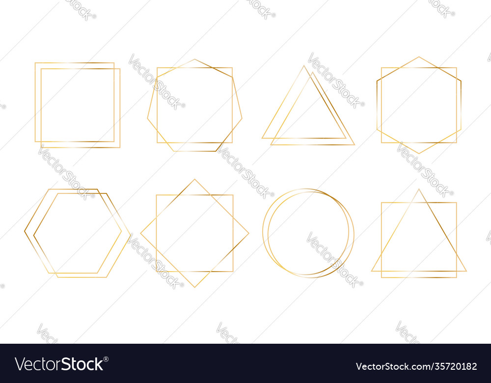 Geometric golden frames simple shapes thin