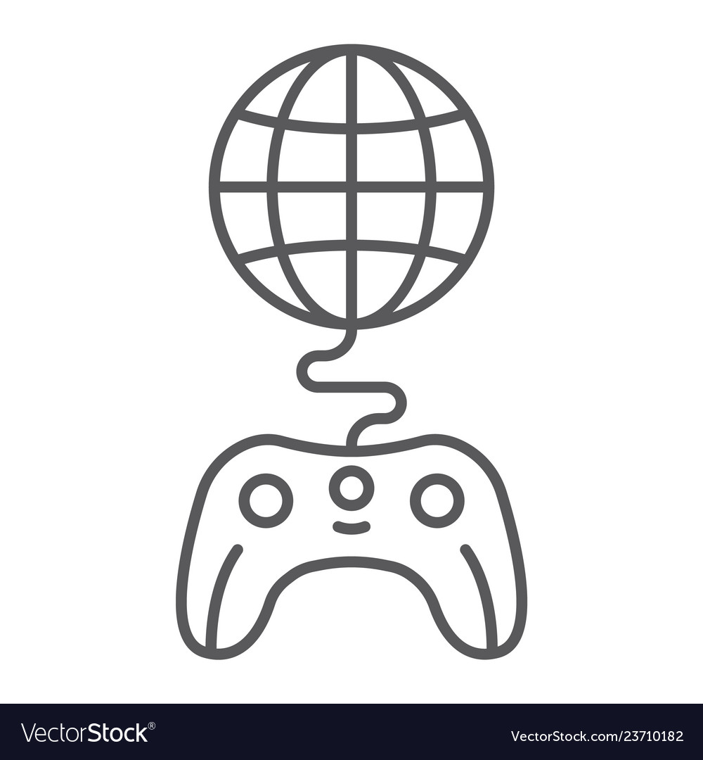 Global game thin line icon play and world globe