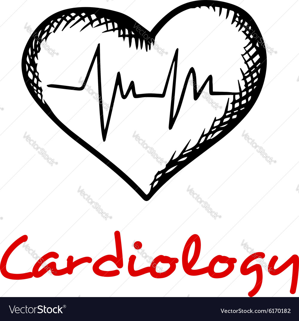 Heart sketch icon with ECG graph