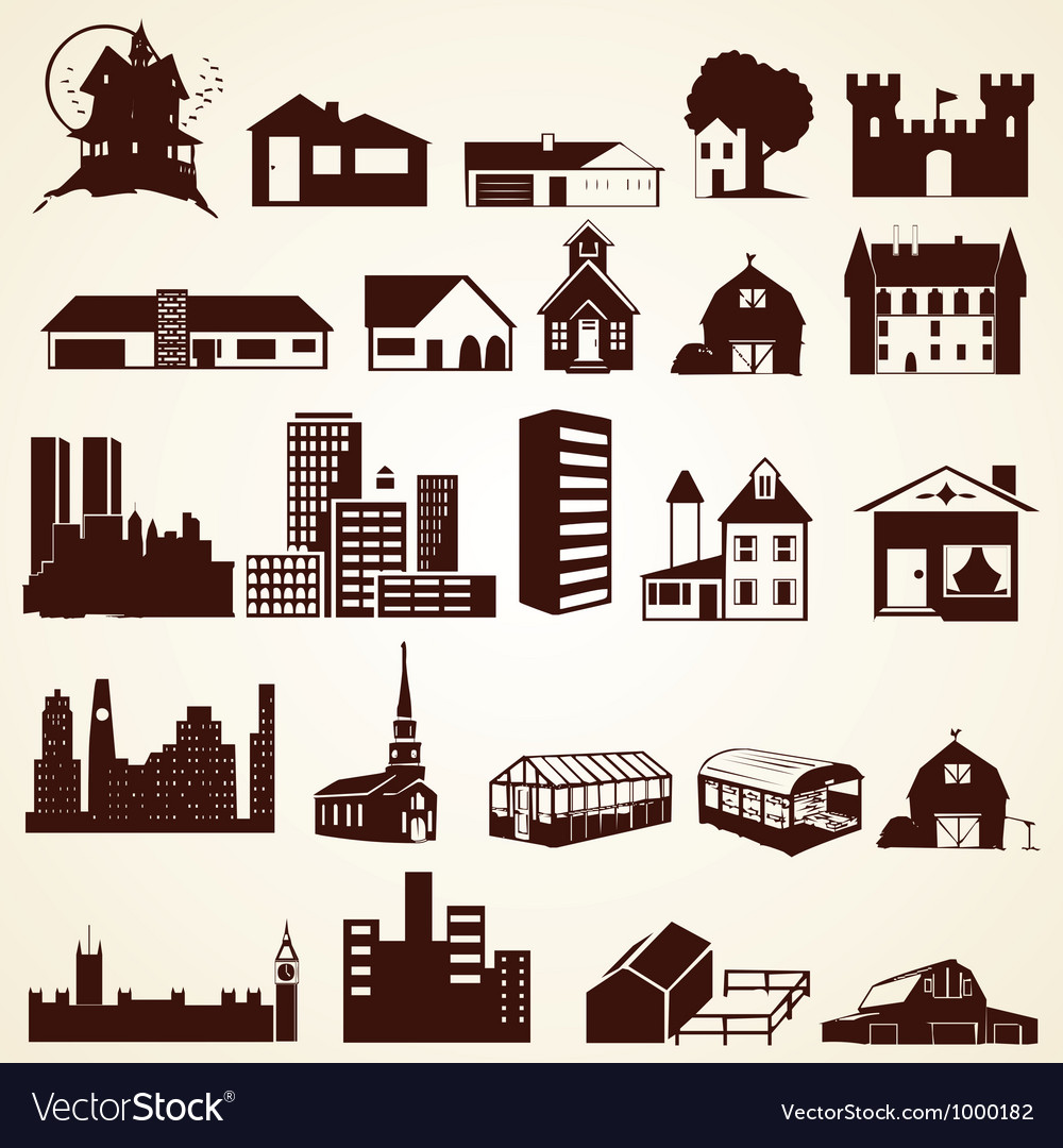 Houses buildings silhouettes set