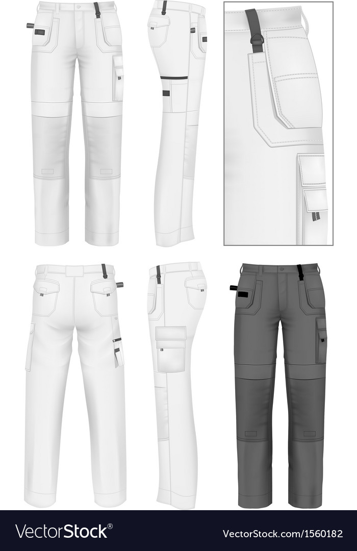 Mens working trousers design template vector image