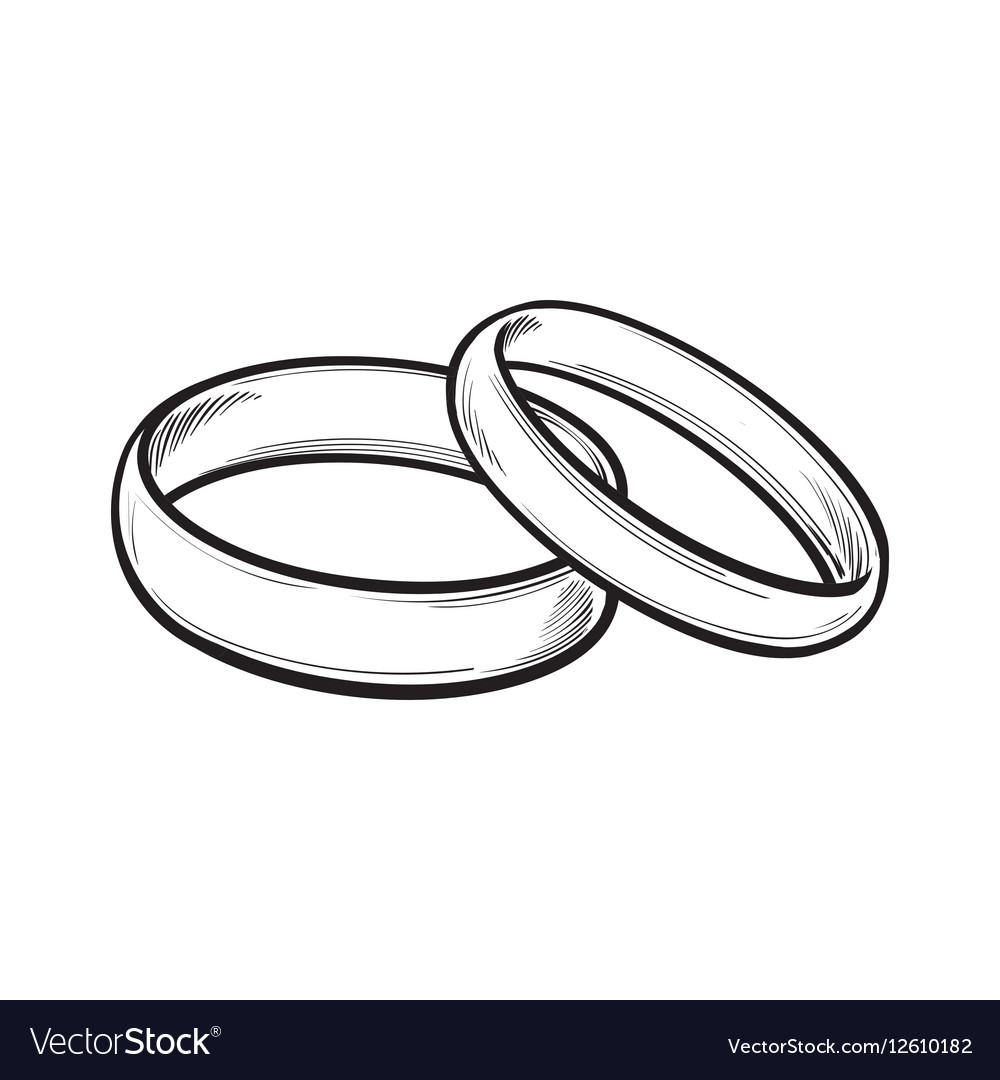 pair traditional wedding rings for bride and vector image  vectorstock