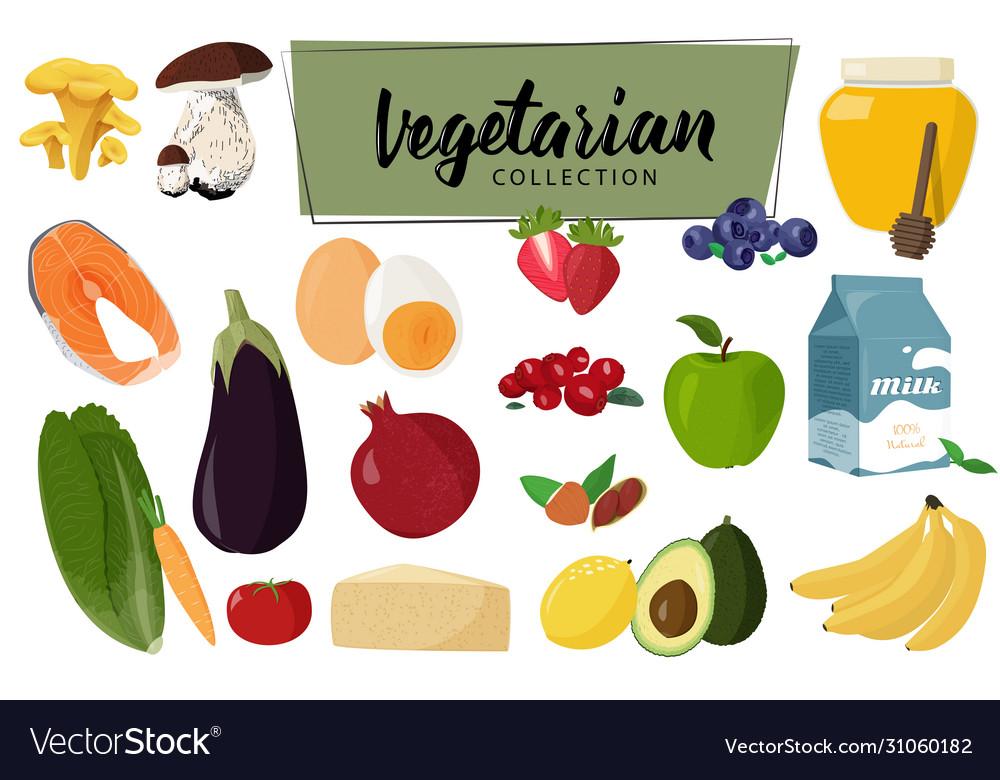 Set vegetarian food collection