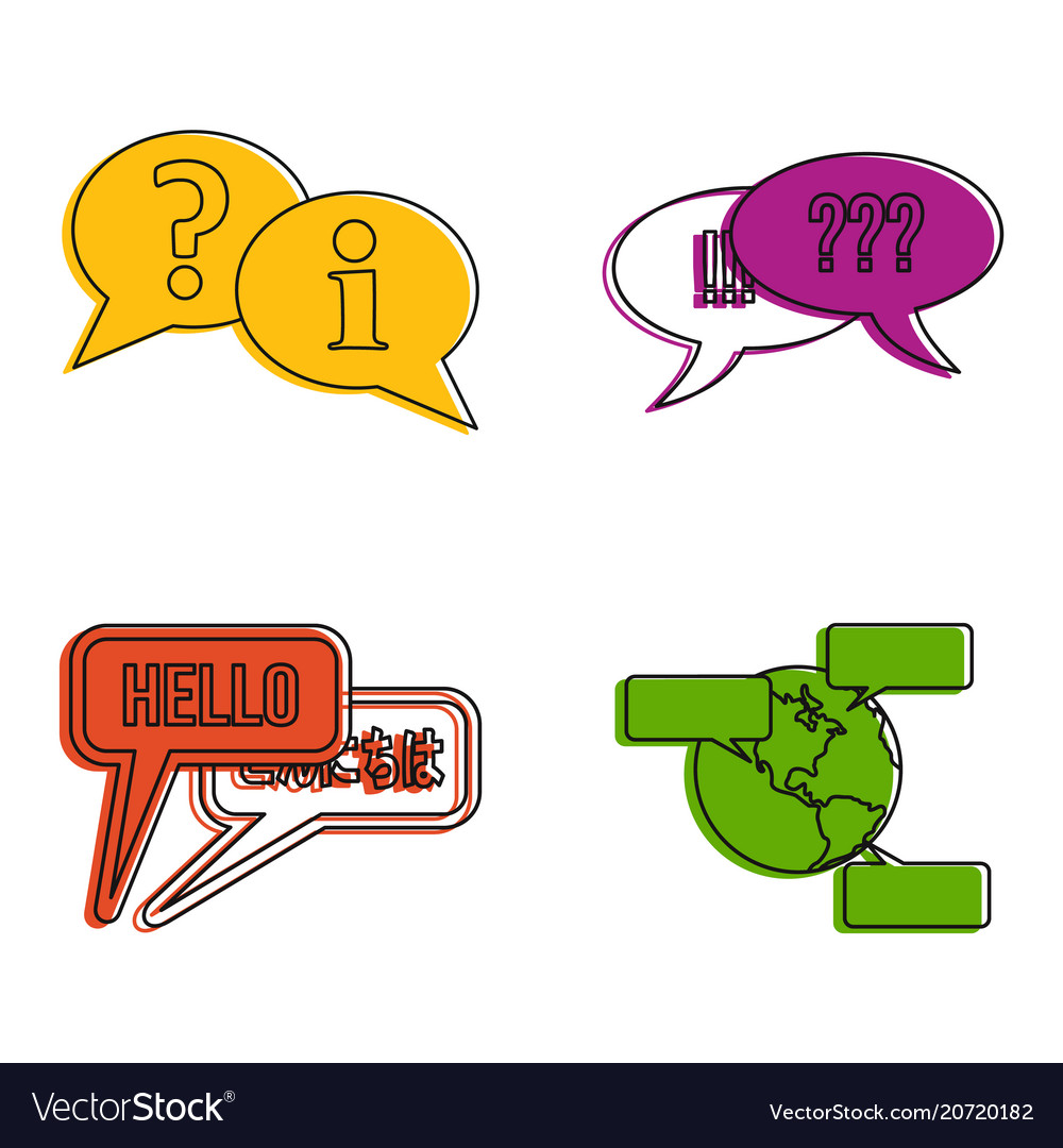 Speech icon set color outline style