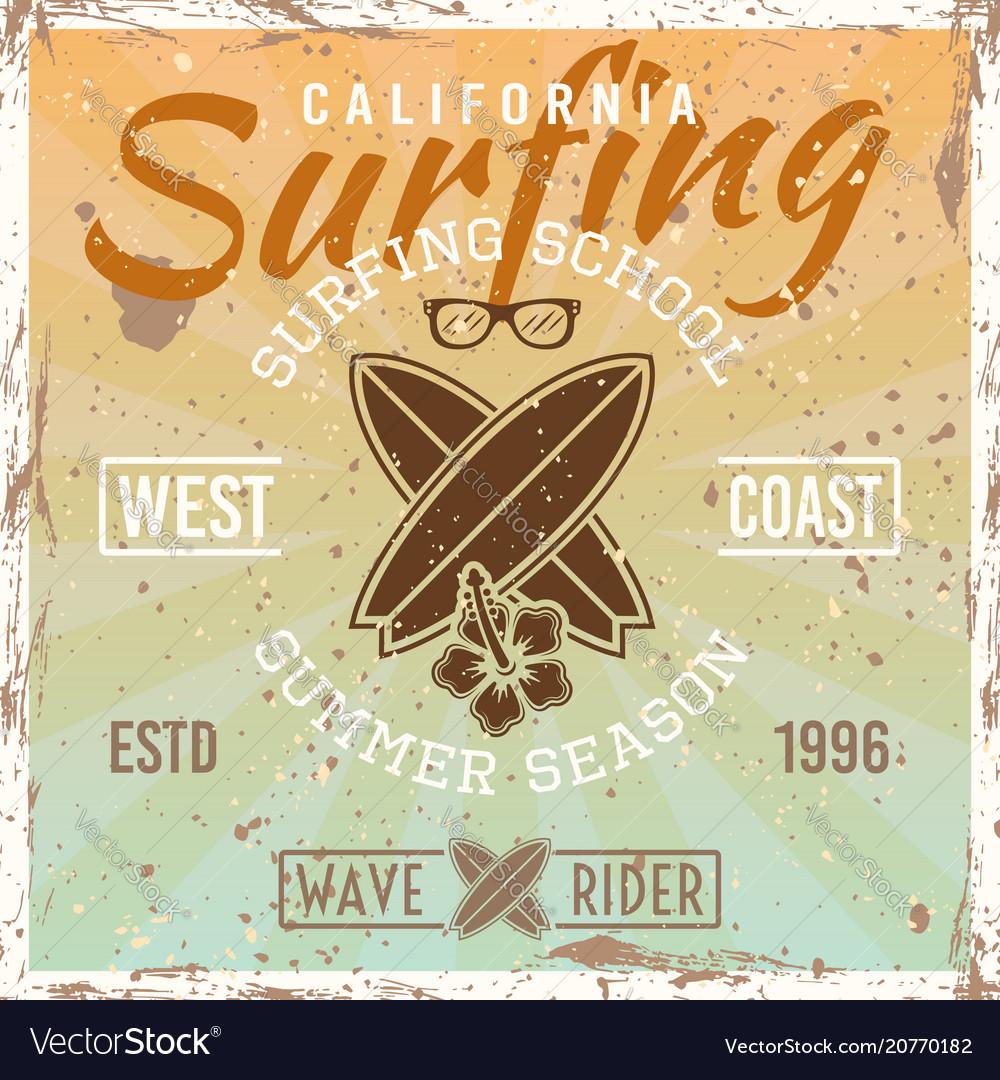 Surfing school colored vintage