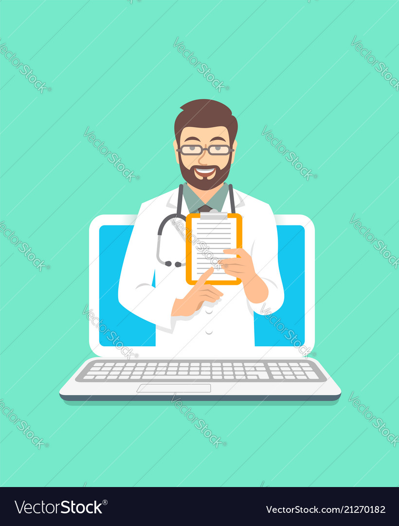 Young man doctor online consultation concept